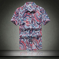 Mens Camisa Havaiana camisa masculina Casual Masculino de Praia Impressa Camisas de Manga Curta 2016 Novo Frete Grátis Asian SizeM-5XL