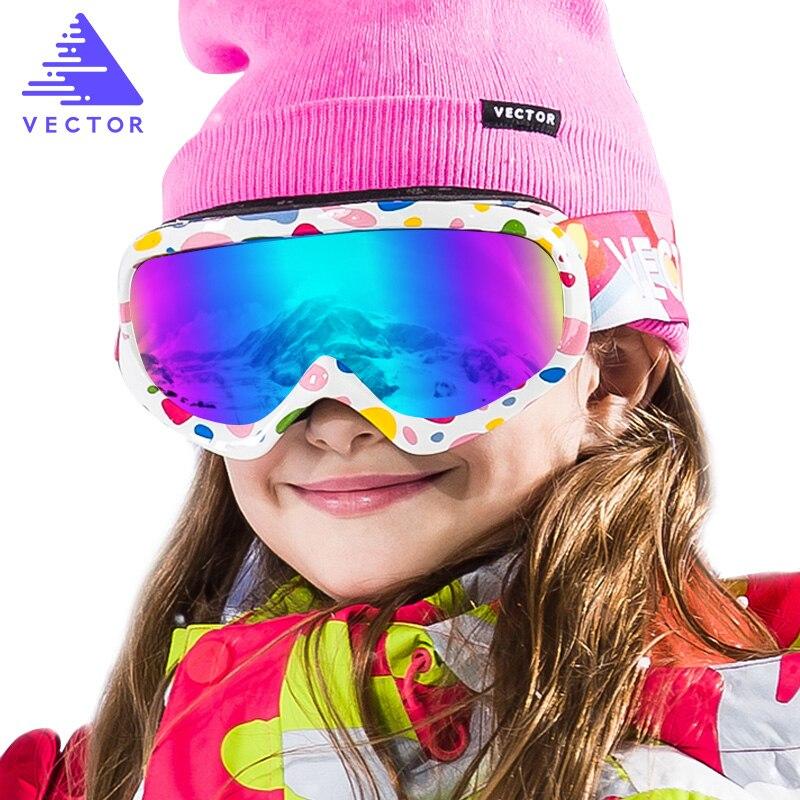 Вектор брендовые Детские лыжные очки двойной линзы UV400 Анти-туман лыжный снег детей Лыжный Спорт очки Зима Девочки Мальчики очки