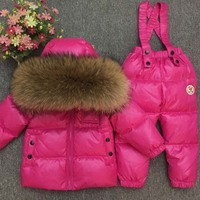 30 degree Russia Winter children's clothing girls clothes sets for new year's Eve boys parka jackets coat down snow wear