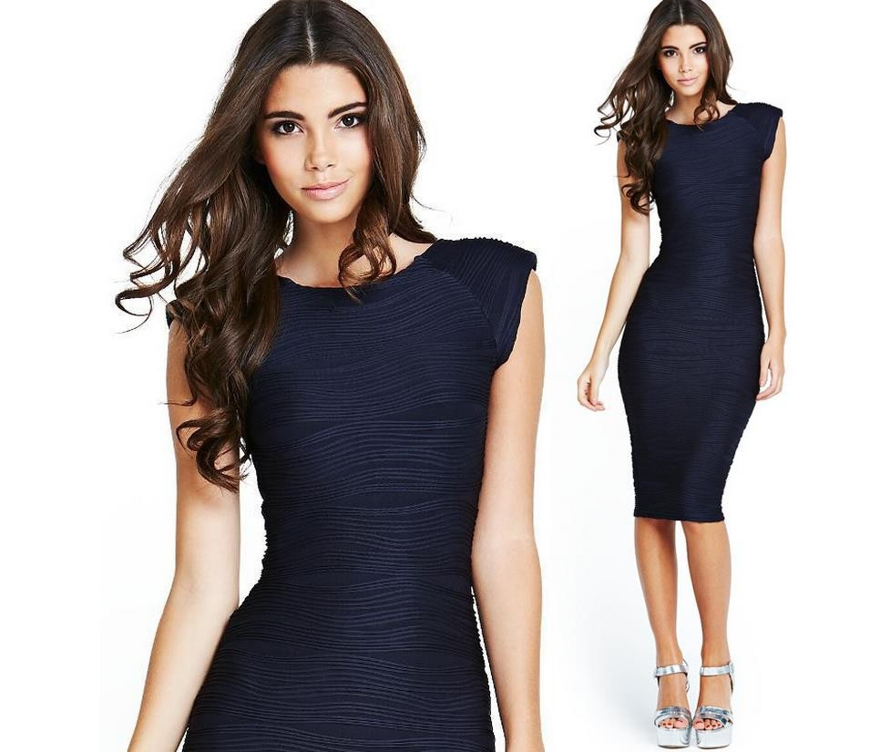 New 18 Folds Dark Blue Pencil Summer Women Office Dress Casual Elegant Evening Party Dresses Sexy Vintage Business Clothing 1