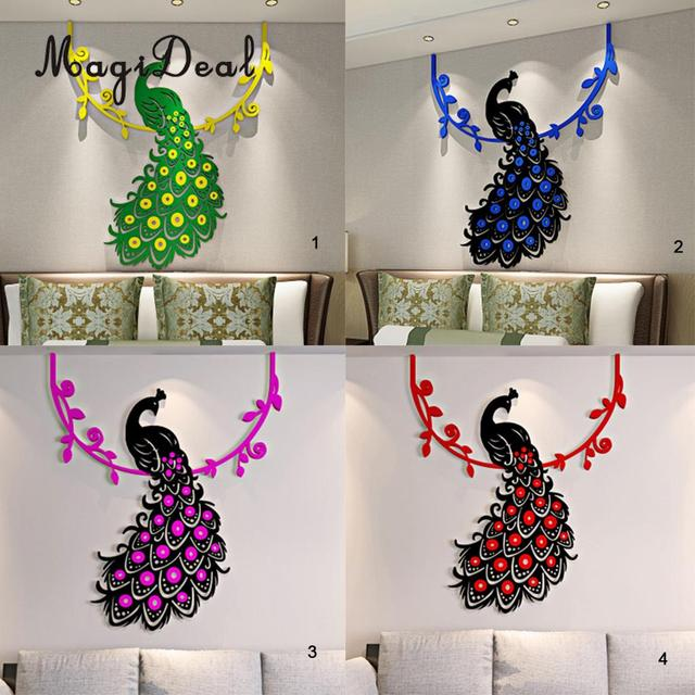 magideal crystal acrylic peacock 3d wall stickers party show stage