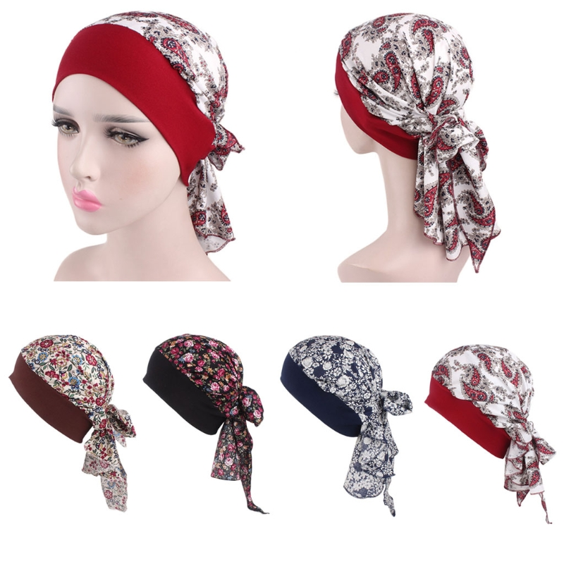 Womens Pirate Chemo Hat Turban Head Scarf Elastic Band Bandana Floral Wrap(China)