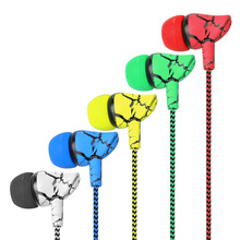 Wholesales Stereo Earphone 3.5mm In Ear Earphone cloth Crack Earphone Headset Earbuds With Mic For IPhone 4 5 6 Samsung
