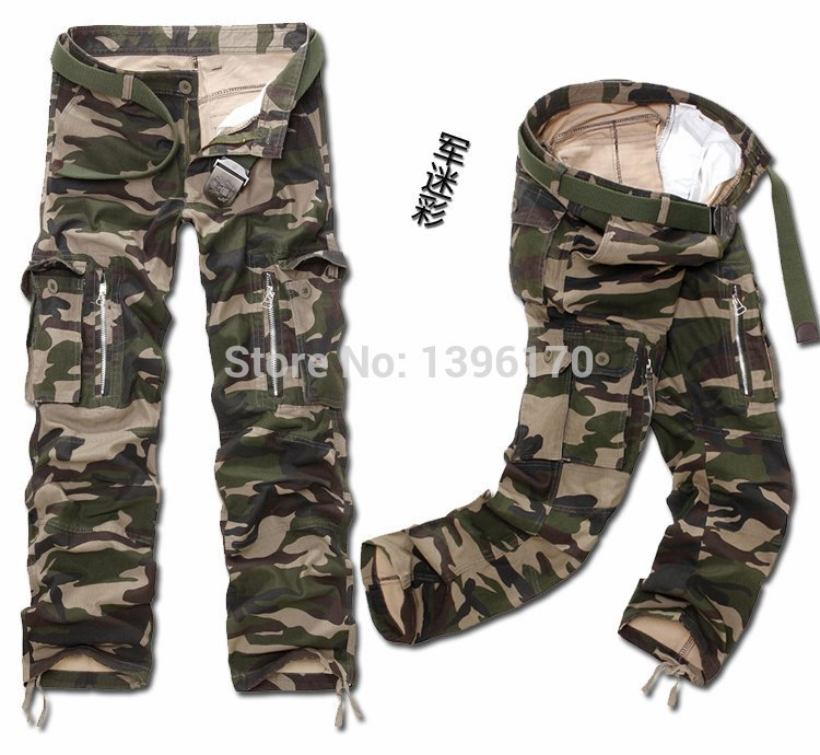 MIXCUBIC brand army tactical pants Multi-pocket washing 100% cotton army green camouflage cargo pants men plus large size 28-40 16