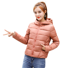 2018 New Winter Jacket Women Causal Solid Color Warm Thicken Female Hooded Coat Short Parkas Outwear