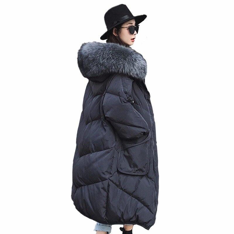 2018 Extra Large Fourrure De Raton Laveur Duvet de Canard Blanc Manteaux de Femmes Épaissir Long Down Vestes Casual Lâche Parkas Neige Outerwears