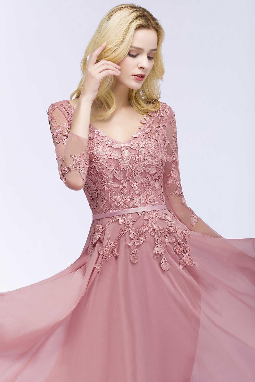 7e6930a836a91 Babyonline Sexy V Neck Dusty Rose Lace Chiffon Evening Dresses 2019 3/4  Sleeves Formal Party Gowns Vestido De Festa