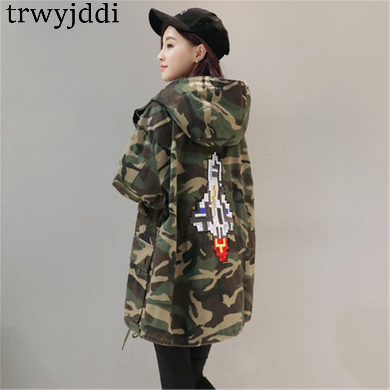 2019 NEW Korean BF Windbreaker Large Size Coats Women Spring Autumn Casual Camouflage Long   Trench   Coat Female Outerwear N396