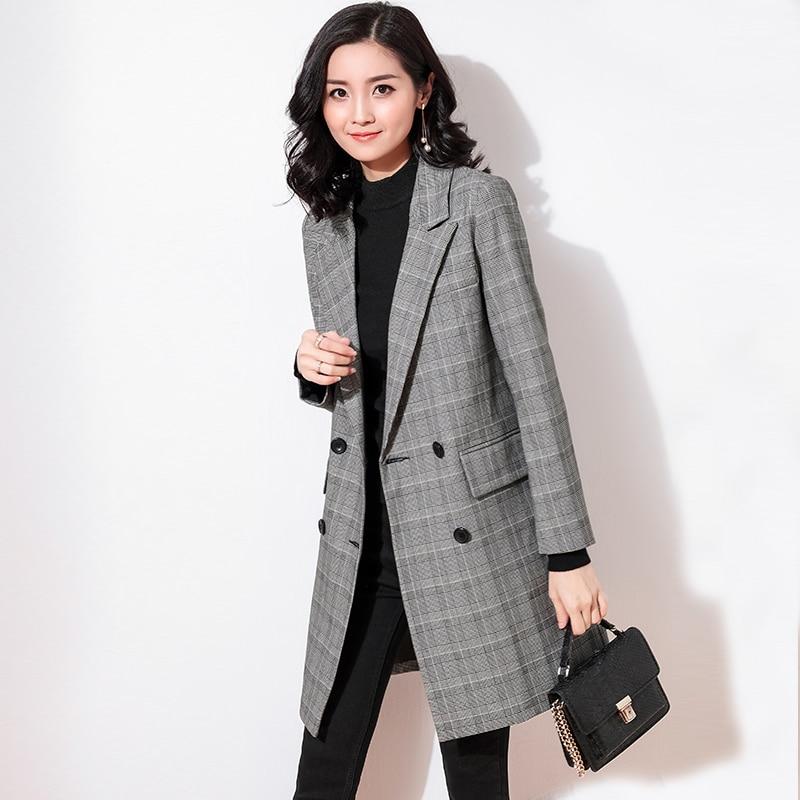 Femmes Automne Treillis Nouveau Coréenne 2018 Costume Mode Version Gray Lâche Veste Long Tempérament Slim La De Printemps Décontracté Femelle rTgnHT