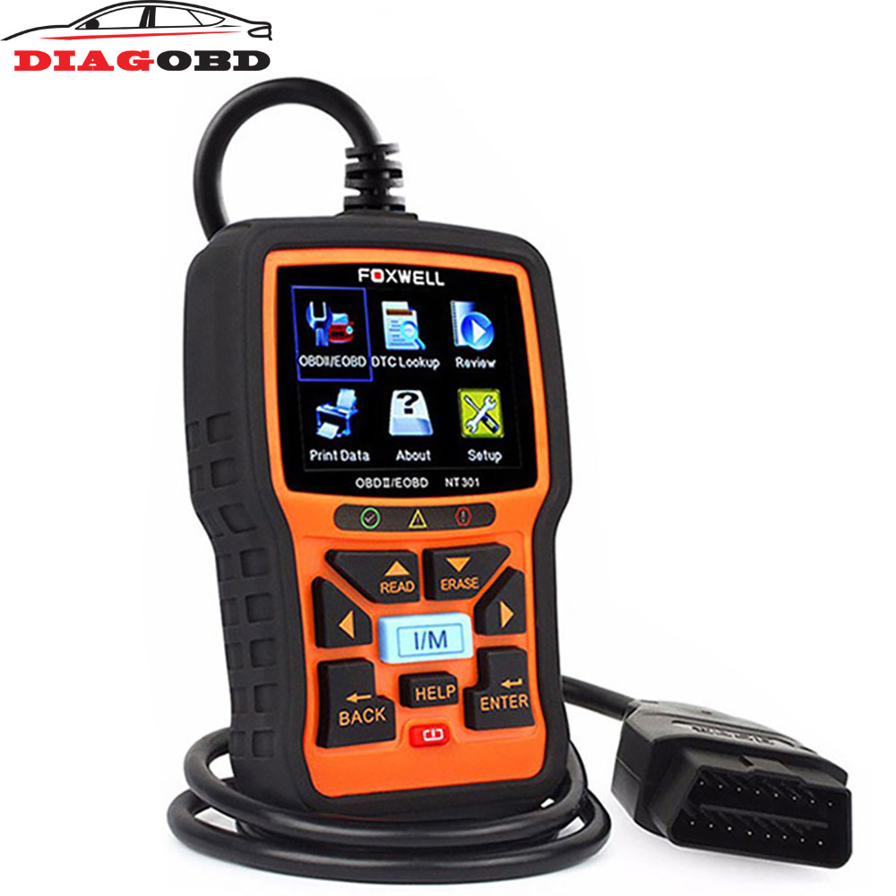 FOXWELL NT301 Live Date Universal EOBD OBDII obd 2 Automotive Scanner OBD2 Auto Diagnostic Tool Car Engine Analyzer Code Reader universal obd2 auto scanner foxwell nt301 auto diagnostic tool engine scanner fault code reader with o2 sensor same as al519