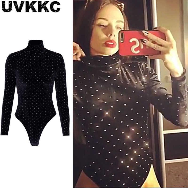 ... Uvkkc Women Bodysuits 2019 Spring Fashion Female Romper Diamond  TurtleNeck Long Sleeve Sexy Party Solid Black ... 6b5b8d567cf1