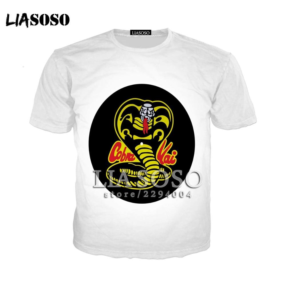 LIASOSO футболки Повседневное брендовая одежда Новый Cobra Kai карате малыш кино мужская майка с круглым вырезом Топы с короткими рукавами Karate Kid ...