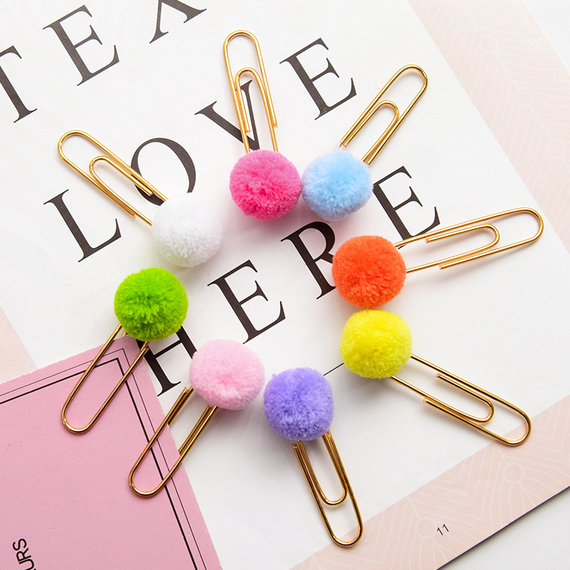 4 Pcs/lot Girl Heart Colored Hair Ball Paper Clip Bookmark Promotional Gift Stationery School Office Supply Escolar Papelaria