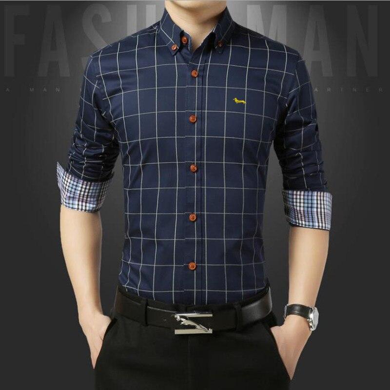 Nova moda primavera casual homens de negócios blusa ásia tamanho xadrez manga longa harmont fino ajuste roupas bordado blaine camisa