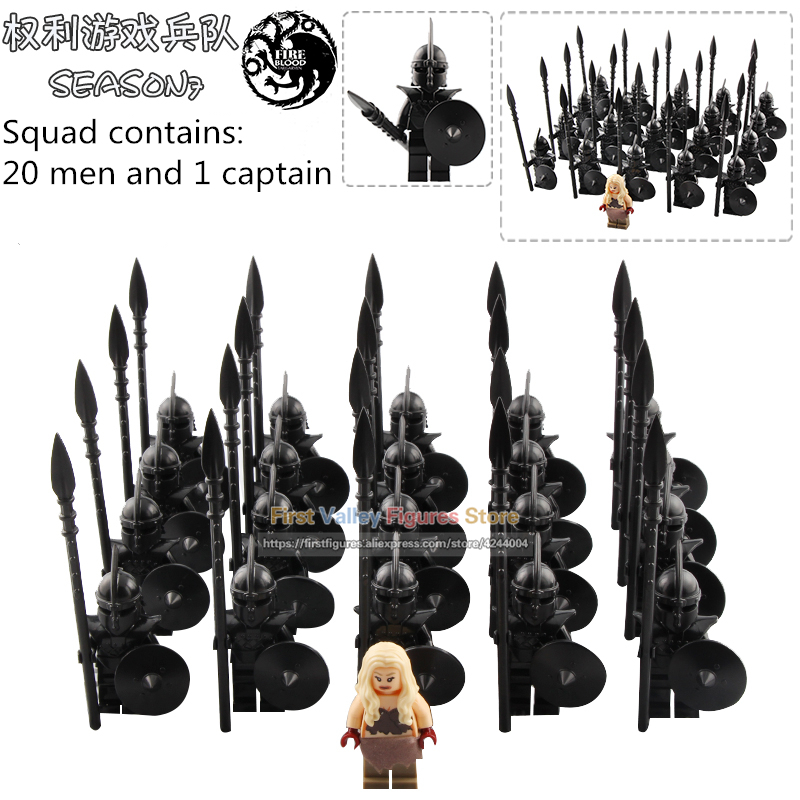 21PCS Game of Thrones Action Figure Eddard Stark Dragon Queen Unsullied Soldiers Medieval Army Building Blocks Toys for Children