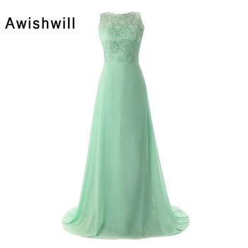 Mint Green Bridesmaid Dresses 2020 Long Chiffon and Lace Open Back Sleeveless Women Wedding Party Dress