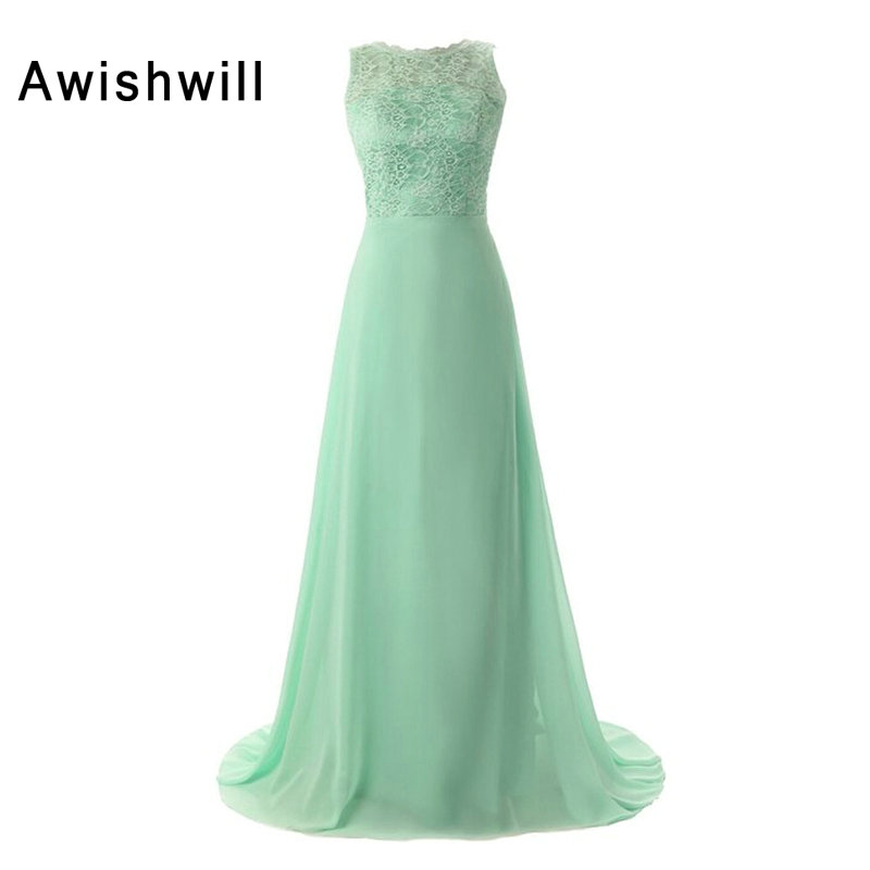 Mint Green   Bridesmaid     Dresses   2019 Long Chiffon and Lace Open Back Sleeveless Women Wedding Party   Dress