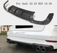 JINGHANG TSI STYLE Carbon Fiber Rear Bumper Lip, Auto Car Diffuser Fits For Audi A3 S3 RS3 2014 2015 2016 2017 2018