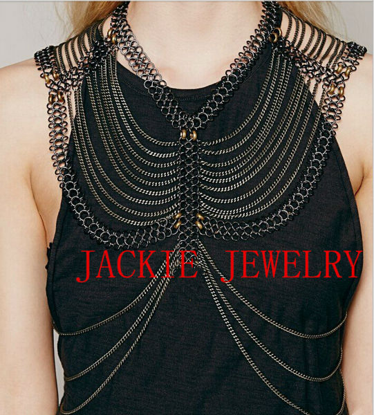 """HOT SALE! Free Shipping Fashion B661 Women Gunblack """"8"""" Chains Layers Shoulder Chains Jewelry Body Jewelry"""