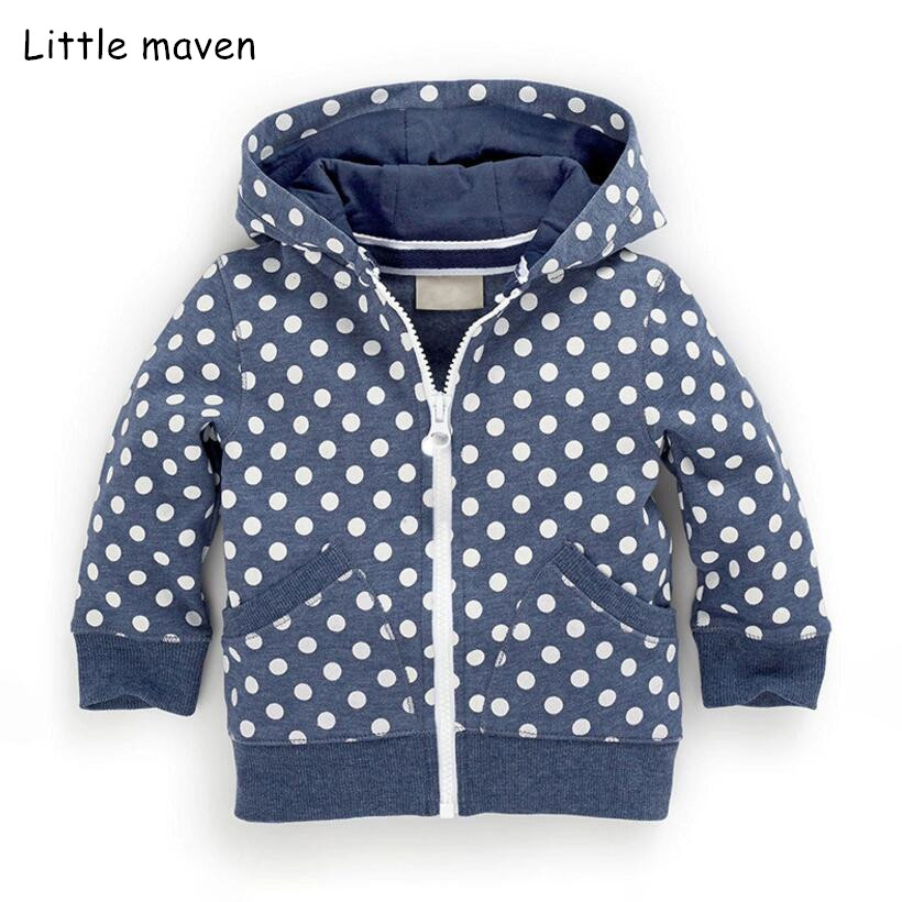 Little Maven 2018 Autumn Winter Children Brand Clothes Children Hoodies & Sweatshirts Boys Dot Hooded Zipper Fleece V0108