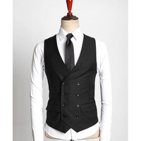 Double Breasted Mens Wedding Dress Waistcoats Casual Formal Waist Coat Korean Suit Vests For Men formal vest