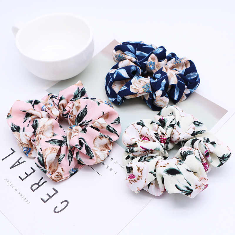 1PC New Spring Flower Scrunchie Ponytail Headband Soft Elastic Hair Ties Summer Turban Floral Hair Bands for Girls Accessories
