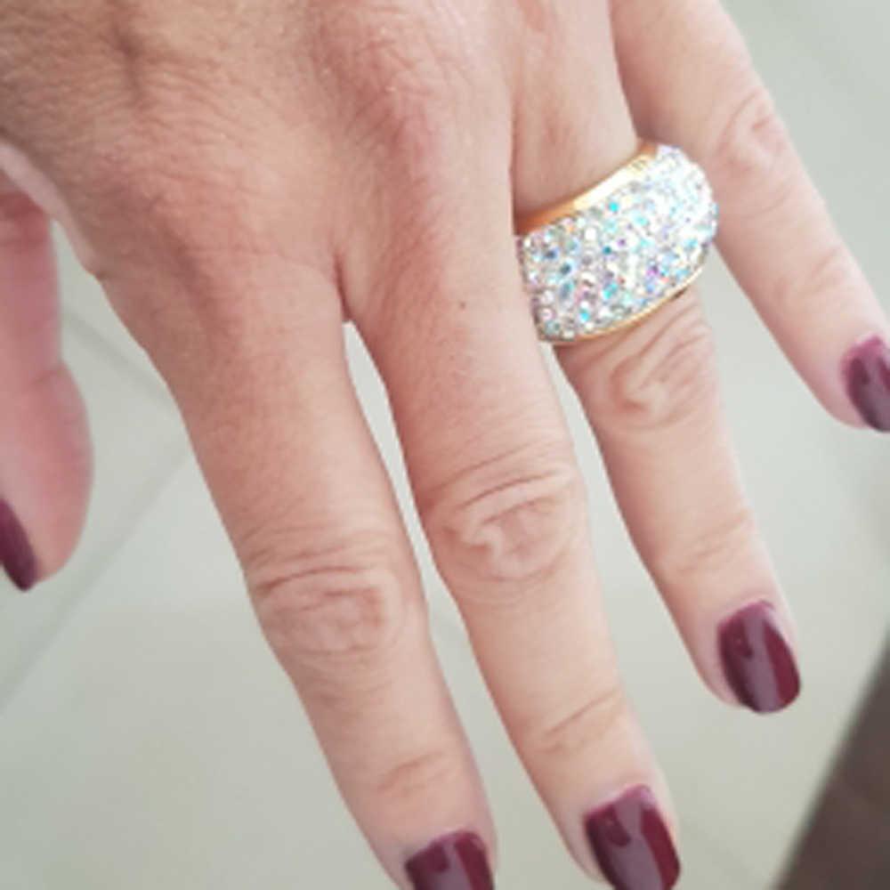 ขายส่ง shining rhinestone แหวนนิ้วมือสำหรับผู้หญิงหรูหราแฟชั่นวรรคใหม่ทองโบราณ-สี