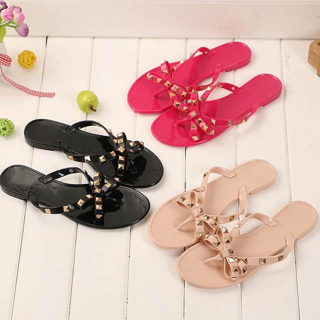 b53591c31ed0 Online Shop women slippers V jelly shoes women flip flops bow stud women  sandals flat summer ladies beach slippers waterproof Thong Sandal