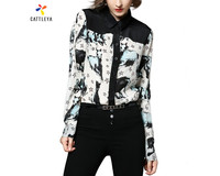 T Shirts Women 2017 New Fashion Autumn Women Horse Printed Blouse Shirts Long Sleeve Turn Down