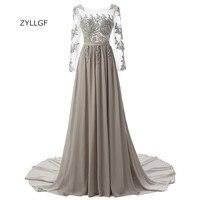 Zyllgf серый Подружкам невесты с длинным рукавом линия лодка Средства ухода за кожей шеи шифон спинки нарядные платья для свадьбы с штапики Q54
