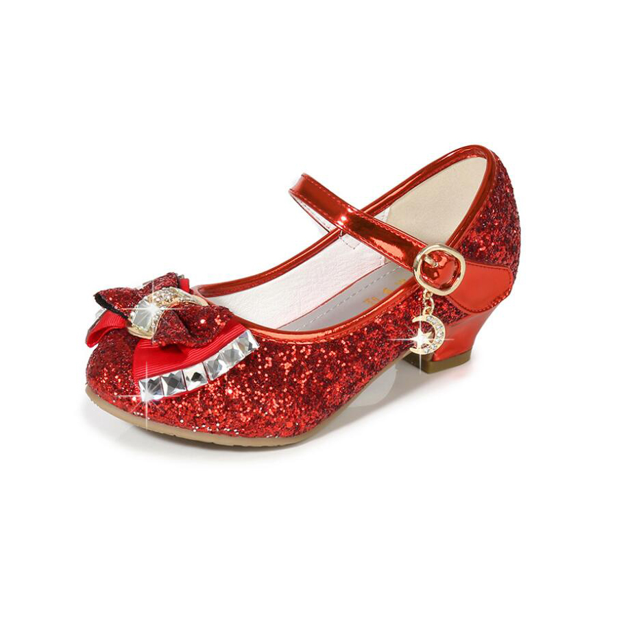 Girls Dress Shoes For Wedding Kids Princess Sandals High Heels Sequin Girls Leather Shoes Children Bowtie Gold Silver Red Shoes
