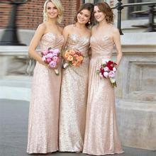 Champagne Sequin Bridesmaid Dresses Rose Gold A-Line Cheap Long Wedding Party Gowns Formal Maid Honor Dress BN98