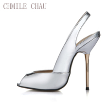 CHMILE CHAU Patent Sexy Women Party Pumps Peep Toe Stiletto Iron High Heel Slingback Ladies Shoe Escarpins Talons Femmes 3845-g4 цены онлайн