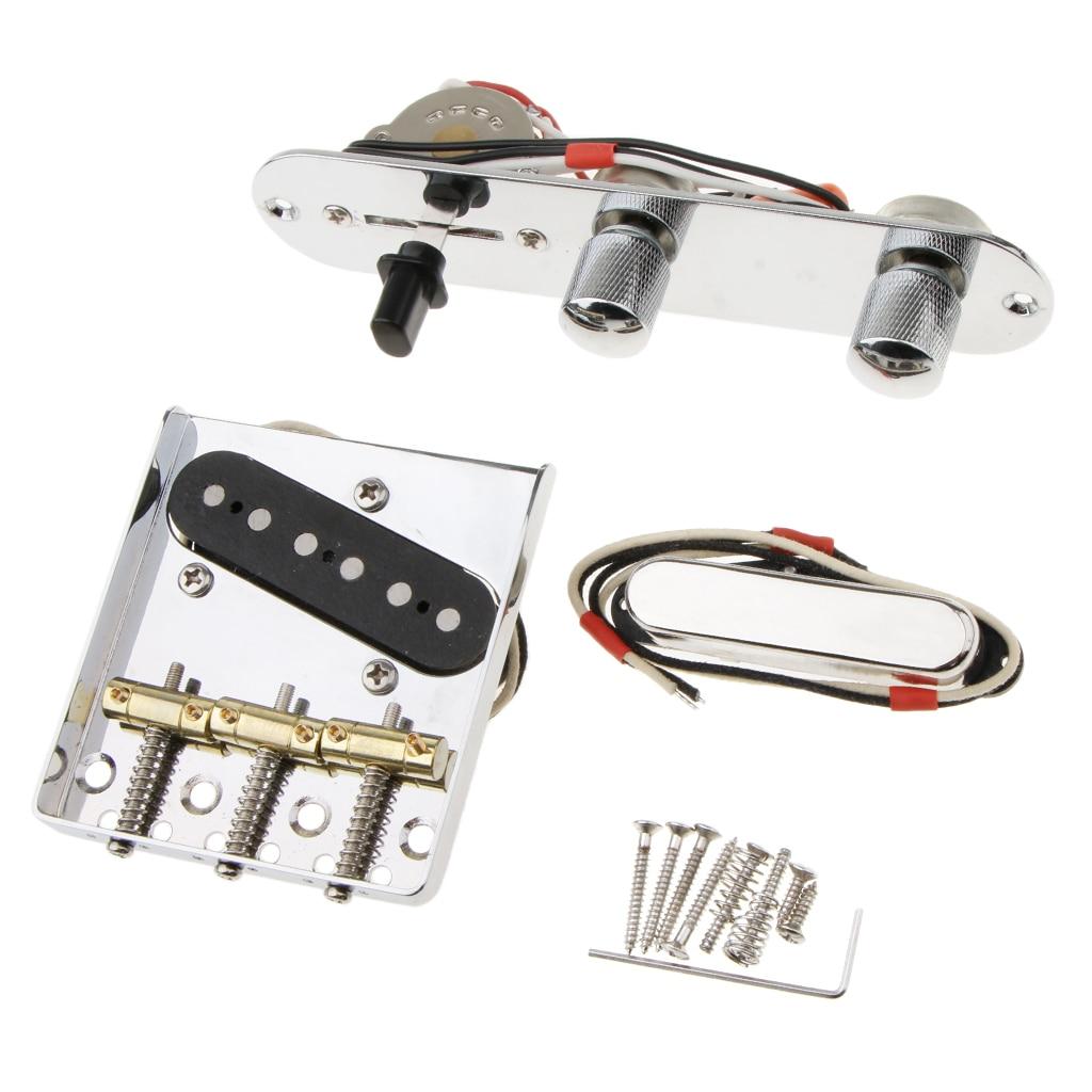Tooyful Chrome 3 Saddle Bridge w/Pickup Assembly for Telecaster Electric Guitar PartsTooyful Chrome 3 Saddle Bridge w/Pickup Assembly for Telecaster Electric Guitar Parts