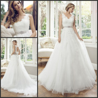 Vestidos De Noiva V Neck Open Back Sleeveless Bride Dress Lace Appliques Tulle A Line 2019 Wedding Dresses Wish Sashes