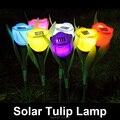 4 unids/lote Yard Outdoor Garden Path Way Solar Power LED tulipán paisaje flor lámpara luces, envío gratis