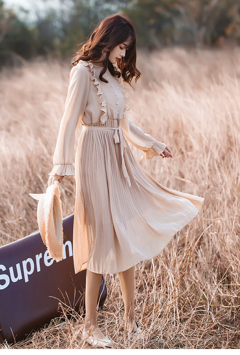 Trytree 19 Autumn Dress Vintage Dot Ruffles women Butterfly Sleeve Shirt Dresses Belt Mid-calf Empire A-line Pleated Hem Dress 17