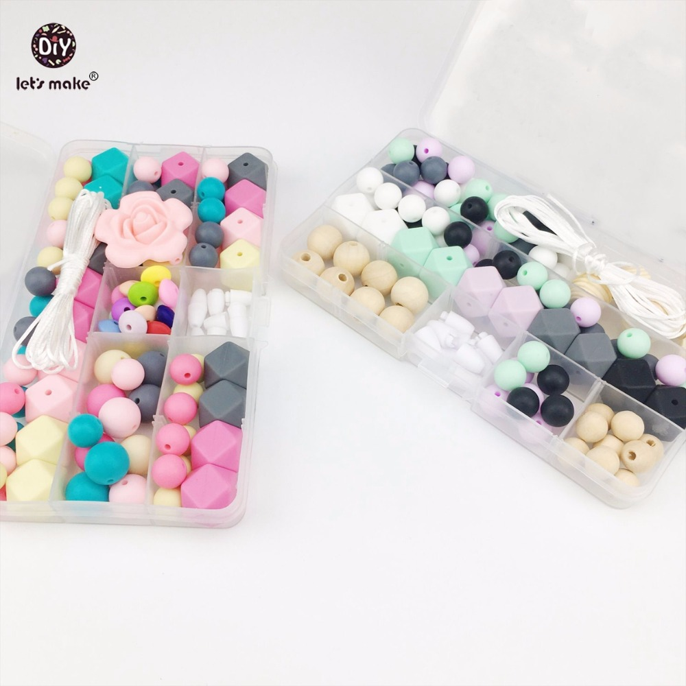 Lets Make Silicone Teether Sets DIY Teething Necklace Beads Bracelet Made Accessories Food Grade Silicone Beads Baby Teether