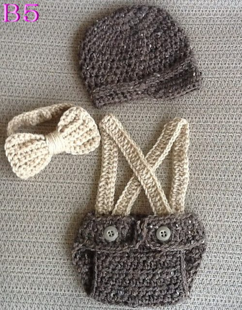 Online Shop Crochet Baby Three Piece Hat Diaper Cover Bow Hand
