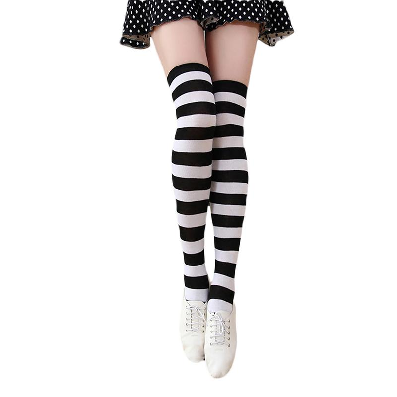 MISS M 1 Pair Fashion Sexy Cotton Over The Knee Socks Ladies Thigh High Stocking Thinner Black White Stripe Stockings For Women