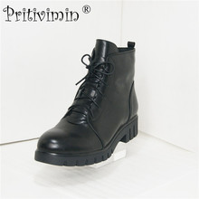Pritivimin FN50 C Fashion New winter ladies warm real fur lined shoes woman black cow leather thick low heel lace up ankle boots 2018 ladies fashion winter warm lined boots women botas mujer shoes cow suede black thick high heels long boots pritivimin fn104