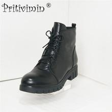 Pritimimin FN50 C Fashion New Winter Damen warme Echtpelz gefütterte Schuhe Frau schwarz Rindsleder dicken niedrigen Absatz Schnürstiefeletten