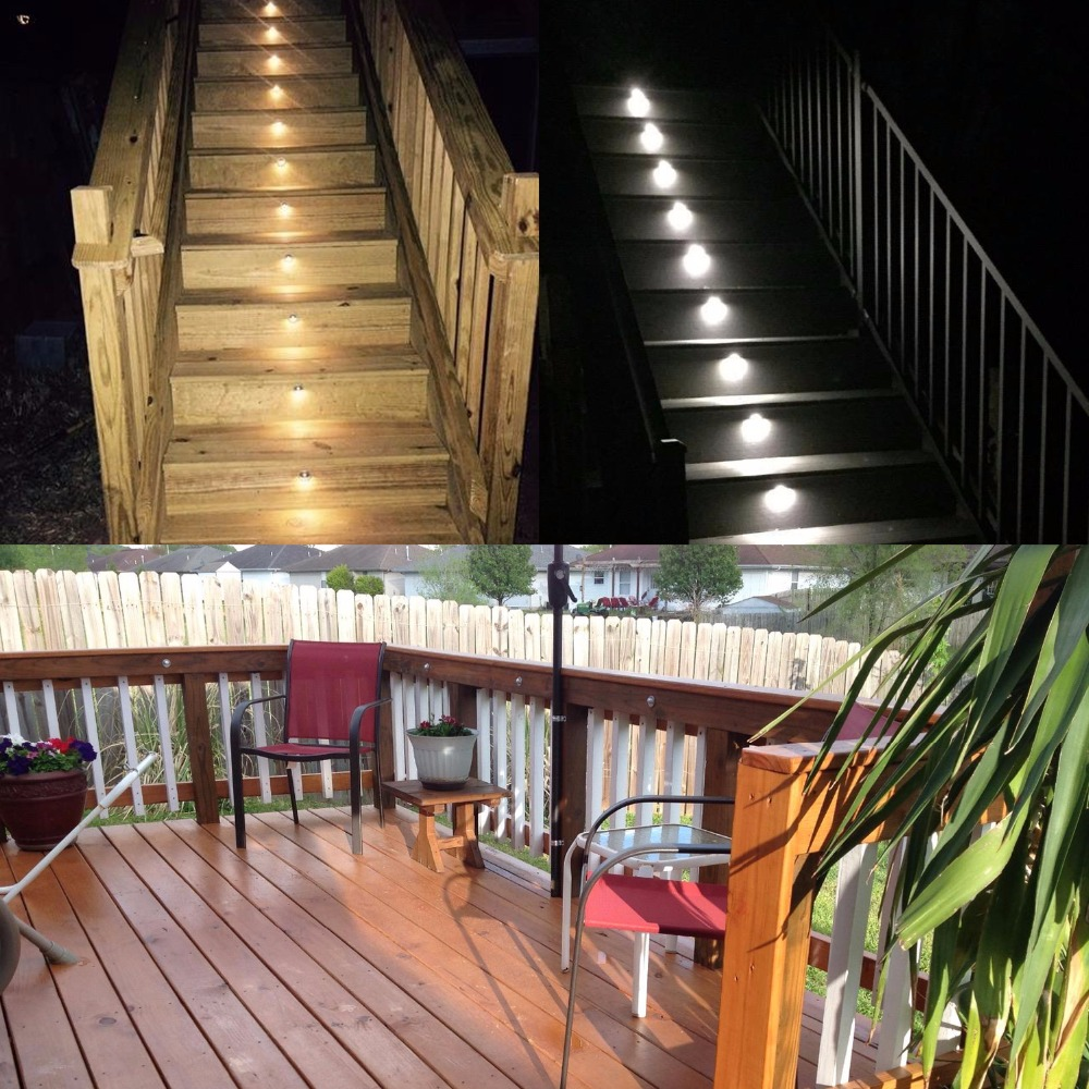 QACA Half Moon SMD5050 LED Stair Lights Low Voltage Outdoor Recessed  Landscape Pathway Step Stair Lamps 6pcs/set B106 6 In LED Underground Lamps  From Lights ...