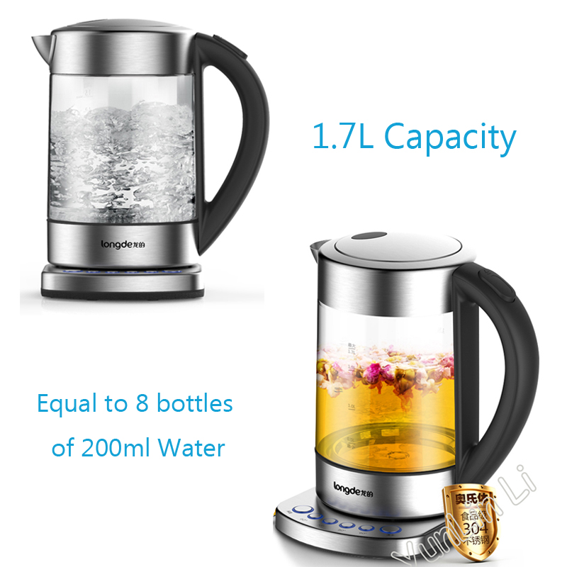 1800W Electric Kettle Auto Power-off Quick Heating Teapot Glass Household Multifunctional Electronic Insulation Kettle Boiler