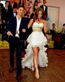 Кристалл 2016 Золото Бисером Свадебные Платья Короткие Передний Лонг Вернуться Line Милая Блесток Люкс Невесты Свадебные Платья Пляж