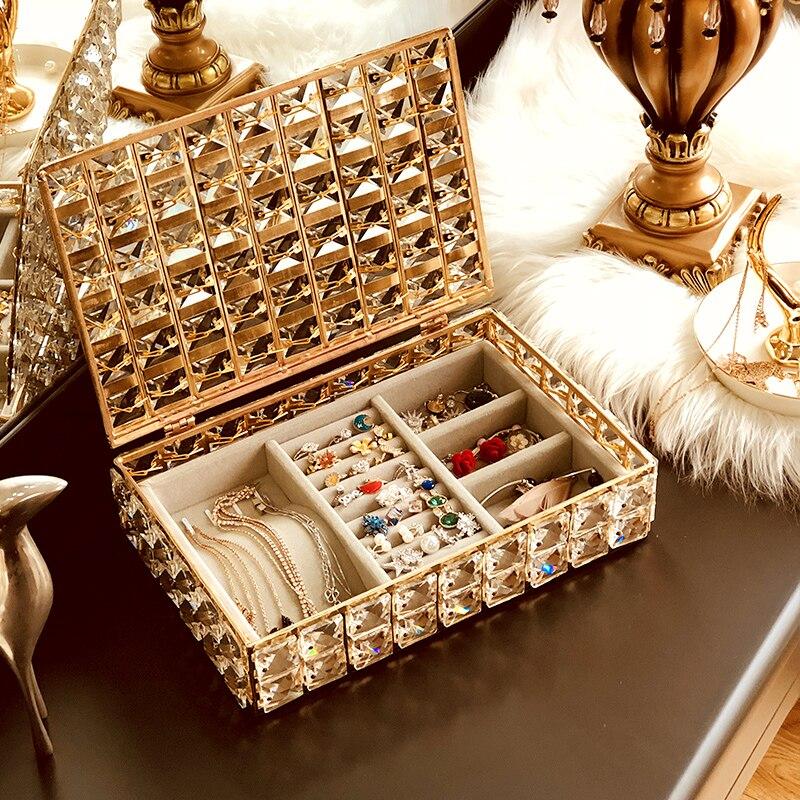 Nordique cristal bijoux boîte de rangement collier boucle d'oreille maquillage organisateur bureau finition métal bijoux magasin conteneur