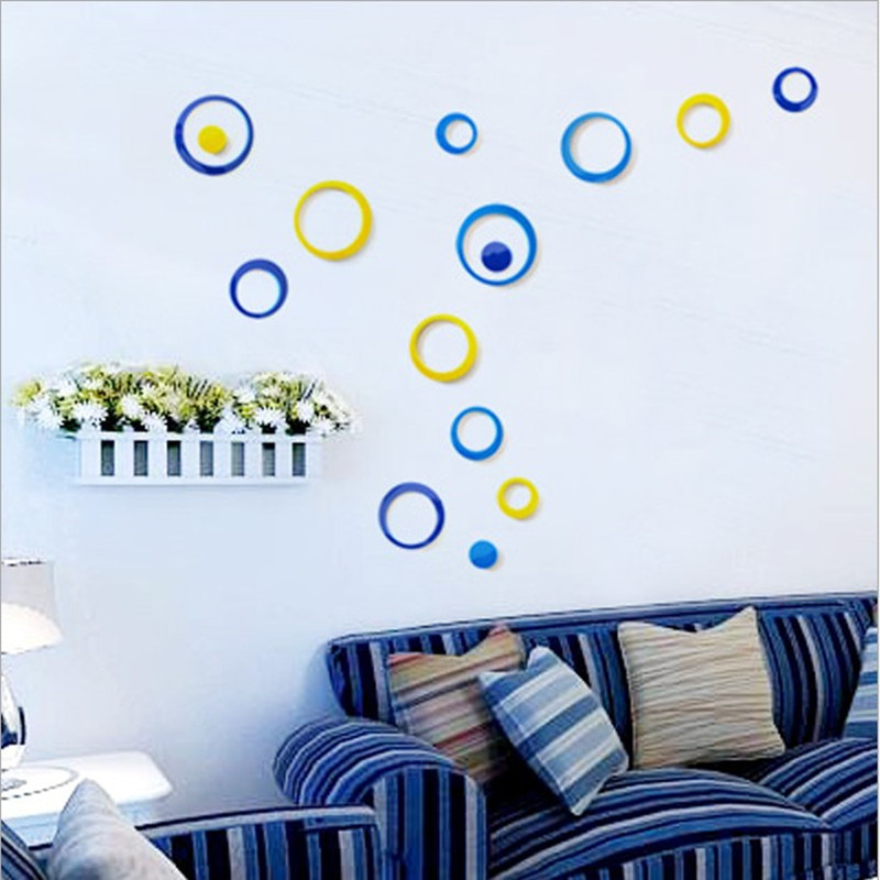 Fashion Simple A circular Wall Stickers Bedroom Living Room Background Wall Stickers Home Decor Kids Room TV Wall Sticker Flower