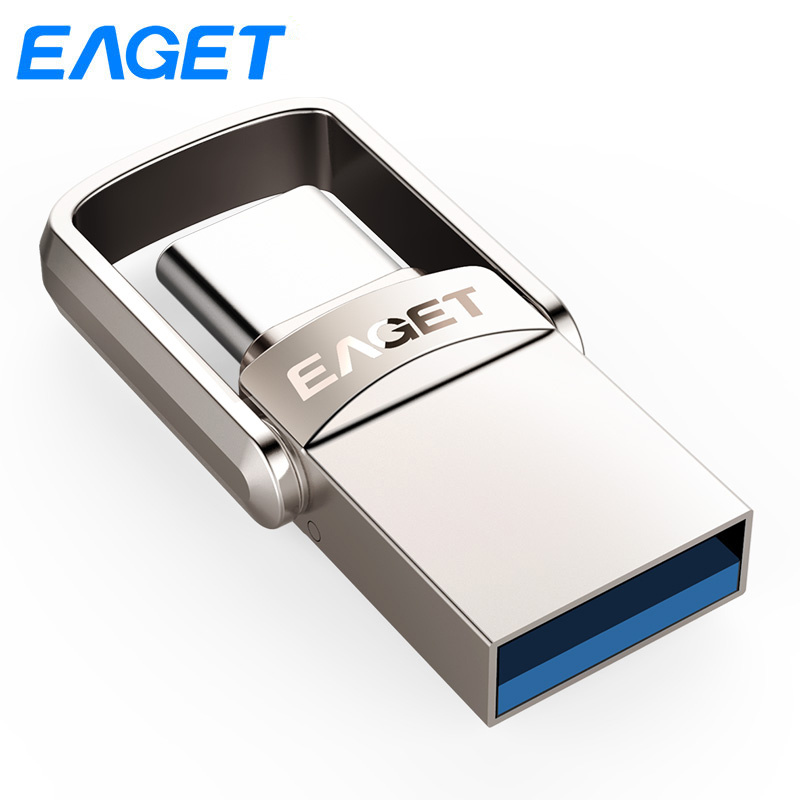 Eaget USB Flash Drive 64GB 32GB 16GB Usb 3.0 Key Metal Pen drive 64GB mini flash disk Pendrive 128gb USB stick For Type C Phone