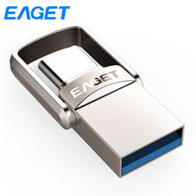 Eaget USB Flash Drive GB 32 64 GB Cle Usb 3.0 Chave de Metal Pen drive 64 GB mini flash disk 128 gb Pendrive USB stick Para O Tipo C Telefone(China)