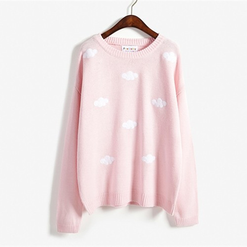 Winter women style 2018 Korean new winter sweaters Harajuku cute 3D clouds hedging thick round neck women sweater